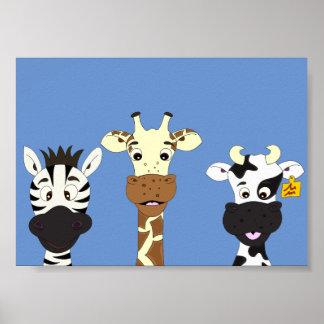 Poster engraçado dos desenhos animados da vaca do