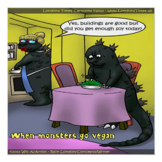 Poster engraçado dos monstro do Vegan