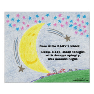 Poster enluarada do berçário do bebê dos sonhos pôster