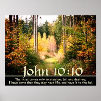 Póster Escritura do 10:10 de John, trajeto de floresta do