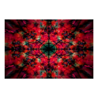 Poster Escuro - teste padrão vermelho do caleidoscópio