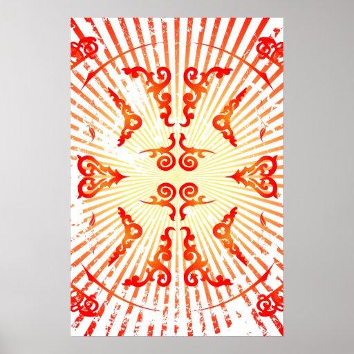 Poster: Espirais e linhas decorativas