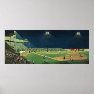 Póster Esportes do vintage, jogo de basebol na noite