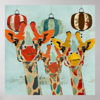 Poster espreitando da arte de três girafas