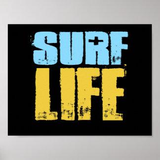 Poster Estilo do surfista da praia da vida do surf
