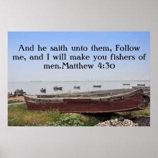 Póster Eu far-lhe-ei fishers dos homens. 4:30 de Matthew