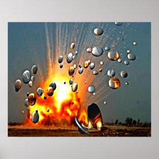 Poster Explosões da fábrica do zangão do espião