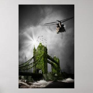 Poster fantasia do apocalipse do helicóptero da ponte da