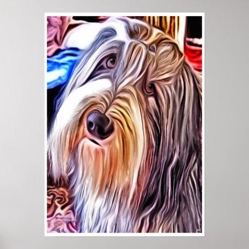 Poster farpado da pintura do cão do Collie
