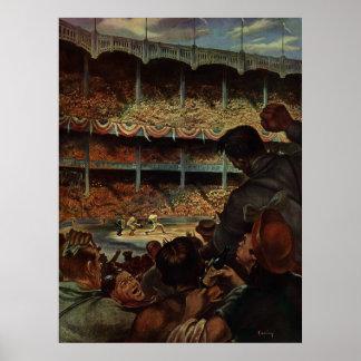 Póster Fãs de esportes do vintage em um estádio de