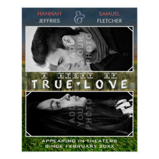 Póster Filme romântico da foto do casamento ou de família