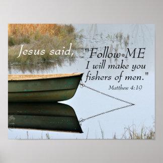 Poster Fishers da escritura dos homens, verso da bíblia