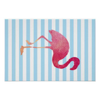 Poster Flamingo, blue and white stripes, summer