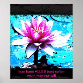 Poster flor abstracta türkis rosa
