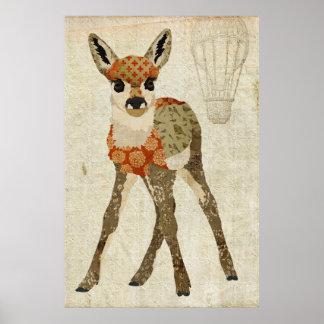 Poster floral ambarino retro da arte da jovem corç