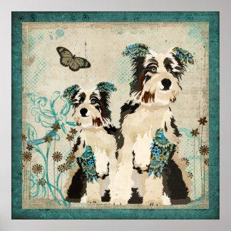Poster floral azul dos cães do vintage