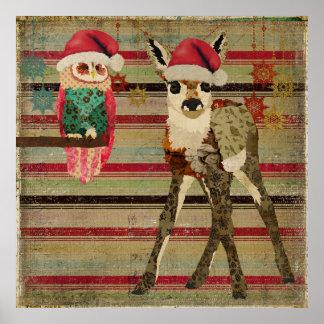 Poster floral da arte do Natal da jovem corça & da