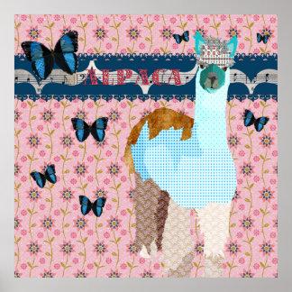 Poster floral do rosa das borboletas de Boho da