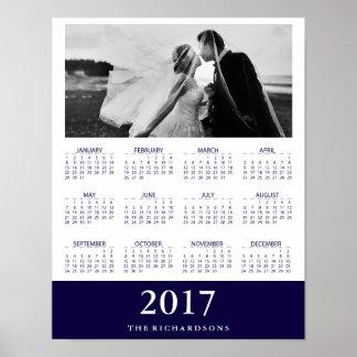 Póster Foto mínima moderna de 2017 calendários da listra