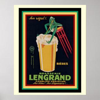 Poster francês 16 x 20 do vintage da cervejaria de