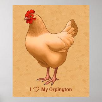 Póster Galinha amarela da galinha de Orpington