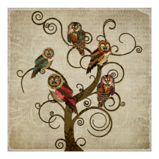 Poster gasto da arte da árvore da coruja