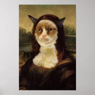 Poster Gato mal-humorado Mona Lisa