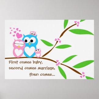 Poster gêmeo das corujas do bebé com texto pôster