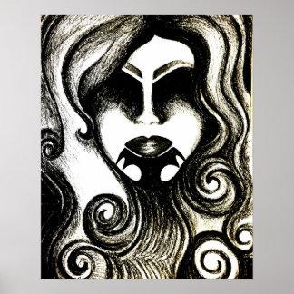Poster gótico abstrato da arte da senhora do