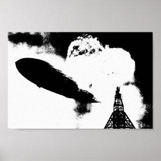 Poster Gráfico da explosão de Hindenburg do zepelim