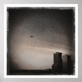 Poster helicóptero sobre a baía de New York