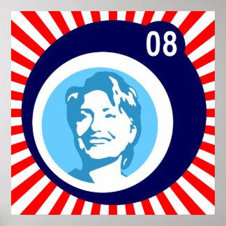 Póster hillary clinton: bolhas azuis & raios vermelhos: