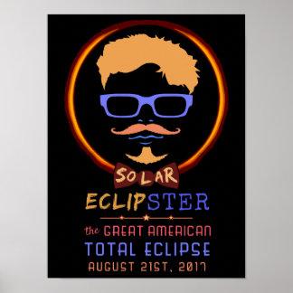 Poster Hipster engraçado eclipse solar do 21 de agosto de