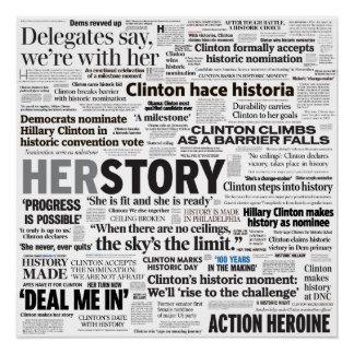 Poster histórico da colagem do título de Hillary Póster