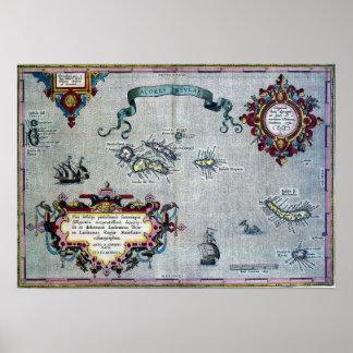 Poster histórico do mapa de Açores