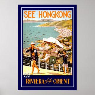 Poster Hong Kong das viagens vintage