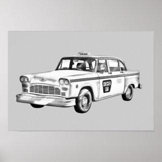 Póster Ilustração do táxi de táxi do verificador