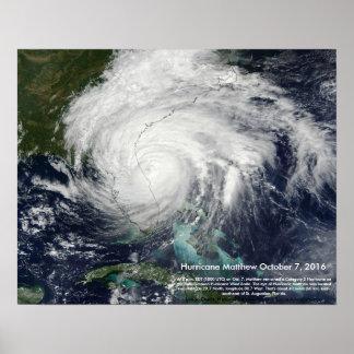 Poster Imagem satélite de Matthew do furacão por St