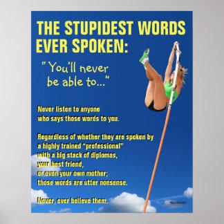 Poster inspirador: As palavras as mais estúpidas