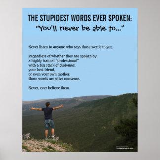 Poster inspirador: As palavras as mais estúpidas Pôster