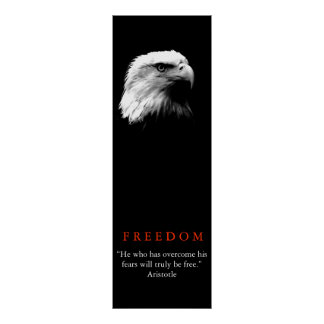 Poster inspirador branco preto da águia americana