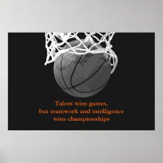 Poster inspirador branco preto do basquetebol das