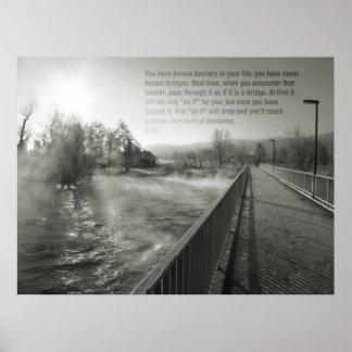 Poster inspirador da vida da ponte das citações da