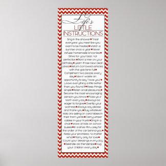 Poster Instruções pequenas de Lifes (vermelhas)