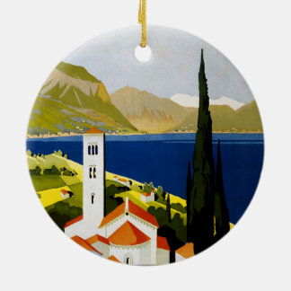 Poster italiano das viagens vintage dos lagos ornamento de cerâmica