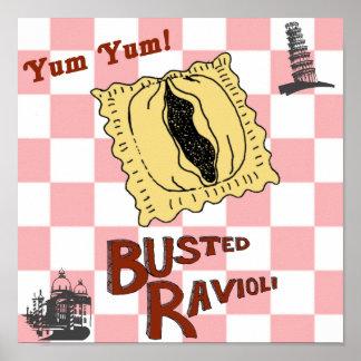 Poster italiano engraçado rebentado do Ravioli