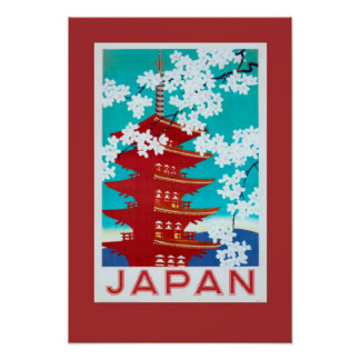Poster Japão das viagens vintage Pôster