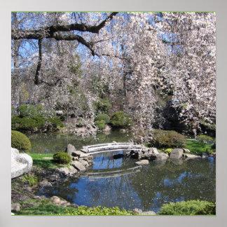 Poster japonês da fotografia do jardim