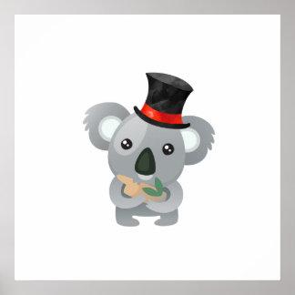 Póster Koala bonito em um chapéu alto preto