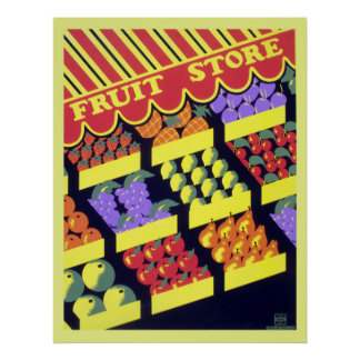 Poster Loja da fruta de WPA do vintage